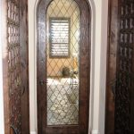 Round Top Diamond Leaded Glass Door