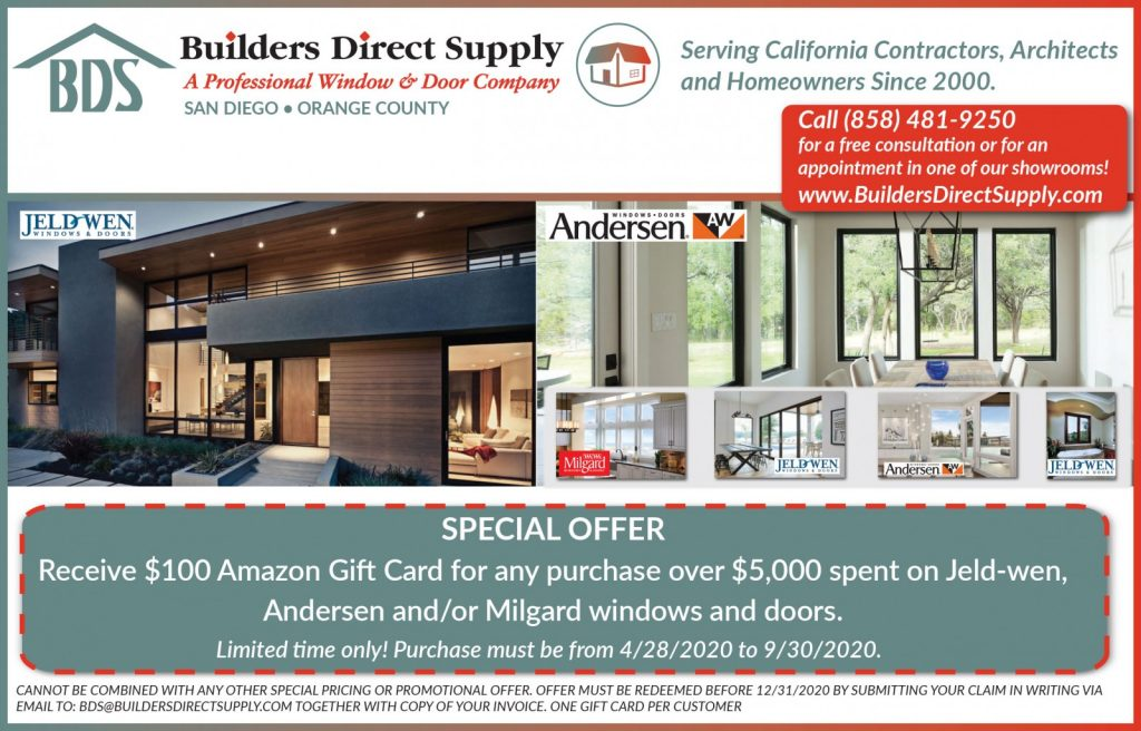 Receive $100 Amazon Gift Card for any purchase over $5,000 spent on Jeld-wen, Andersen and/or Milgard windows and doors.
